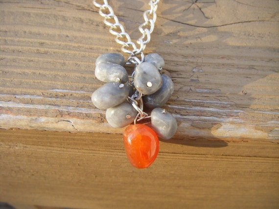 chain link necklace with coral and gray colored tumbled stone beads