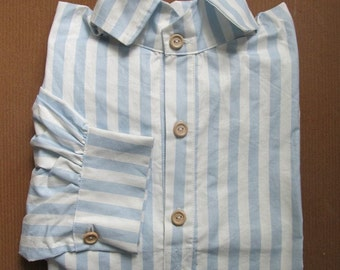 "Blue and White Stripe Shirt 19"" Neck  BW19"