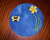 Spring Bee Wool Table Mat/Rug/Doily/Trivet
