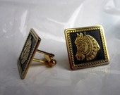 Vintage Black and Gold Cufflinks with Medieval Horses: