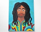 Original African American Hippie Painting - 1970's (from the Commune)- Rasta Man -
