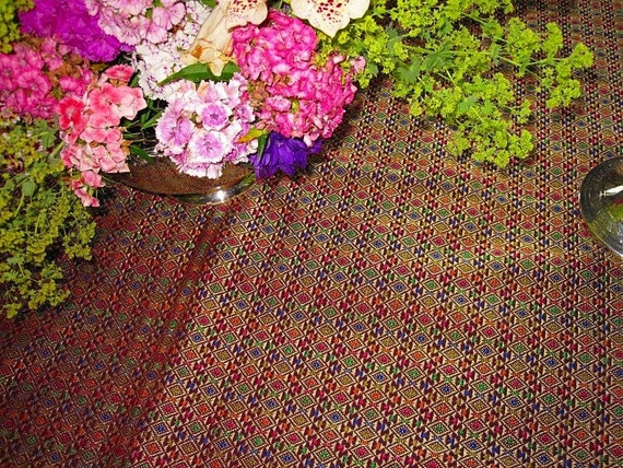 Vintage Table Runner-Thai Silk- Jewel Tones