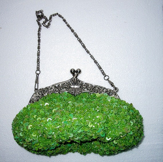 Vintage Evening Purse- Green Sequins with Silver Clasp