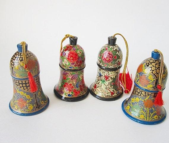 4 Kashmiri  Ornaments- Vintage Papier Mache