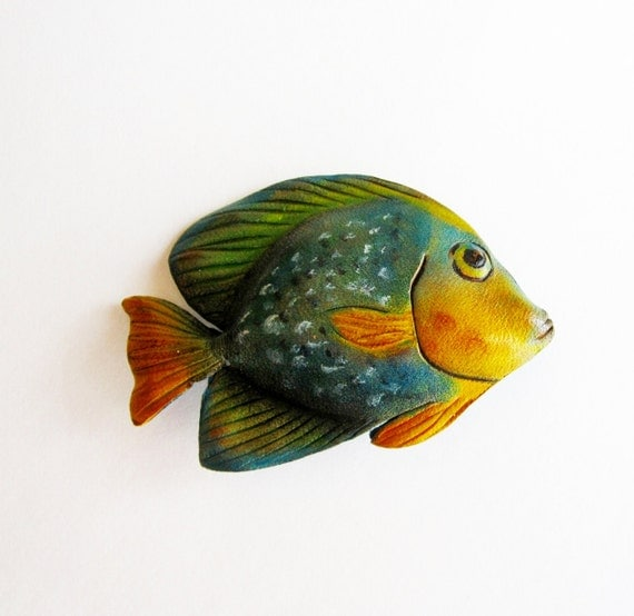 Leather Fish Brooch in Blue Green and Yellow Vintage