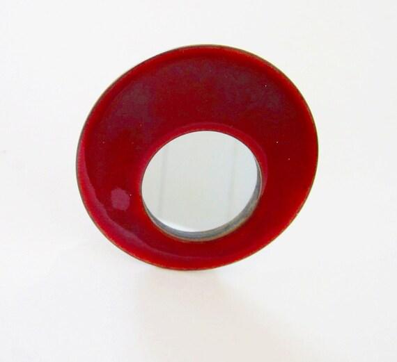 Vintage Red Enamel Mirror- Mini - Round