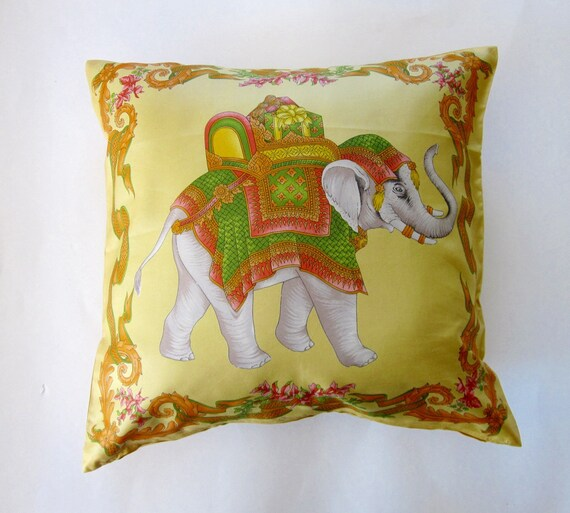 Jim Thompson Silk Cushion Cover- Royal Elephant on Gold