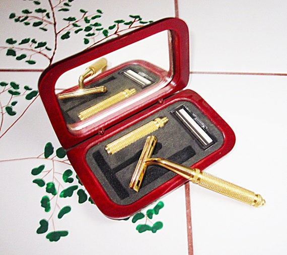 Vintage Men's Shaving Kit in Mirrored Wooden Box