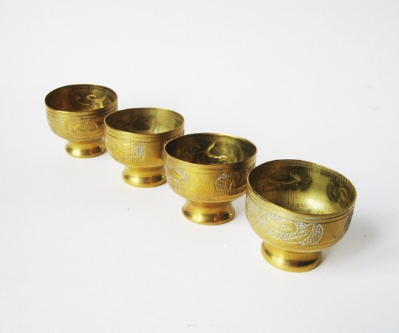 Vintage Copper GOBLETS- Set of 4 Engraved  Collectible Cups