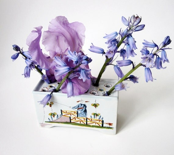 Delft Flower Frog/Flower Brick - Made in Holland for Williamsburg Reproductions from early 1960s