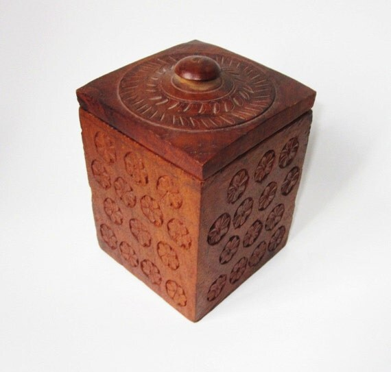 Carved Wooden Humidor/Box  - Handmade - India
