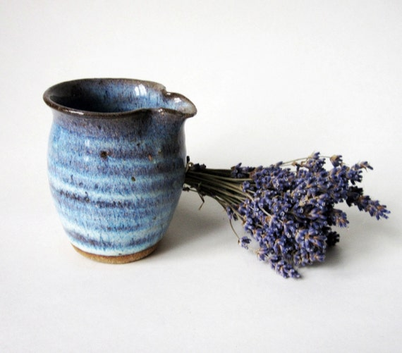 Handmade Pottery Creamer -Blue Glaze - no Handle