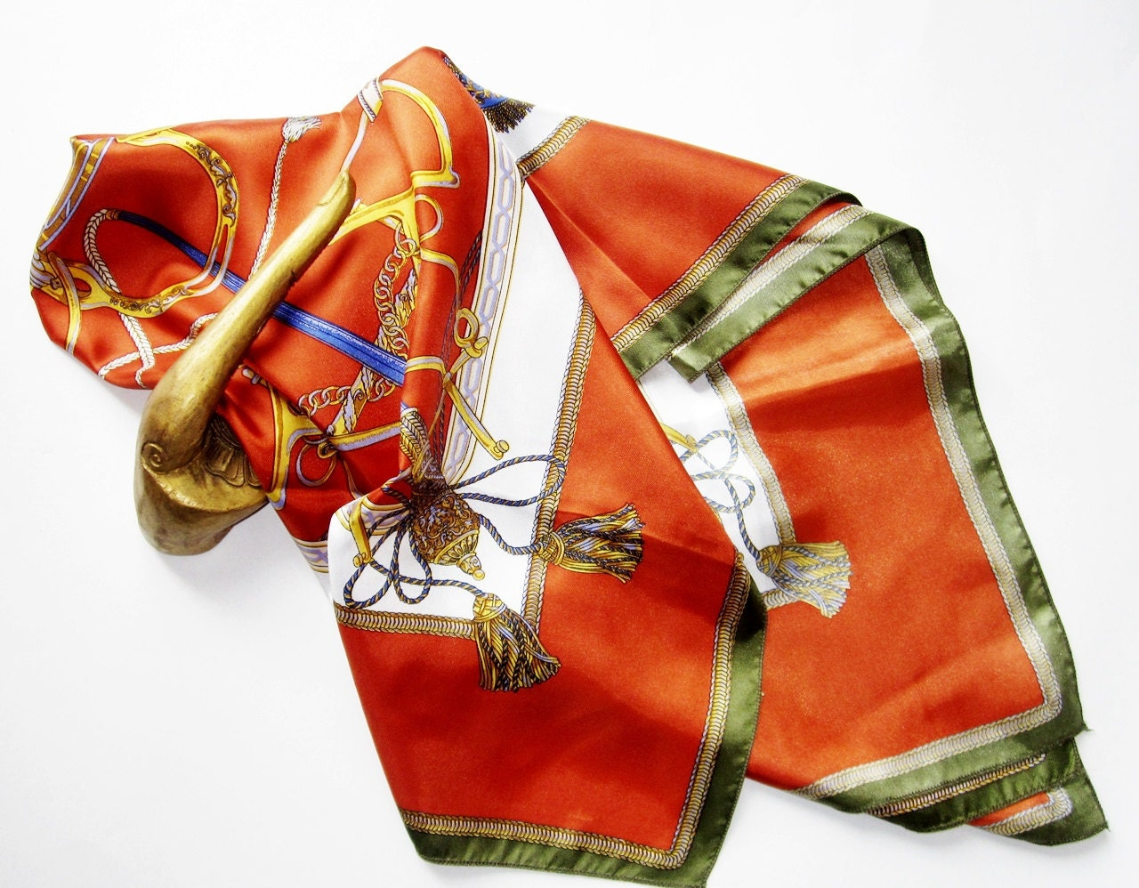 hermes style s scarf vintage rust and blue