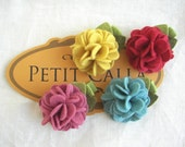 Tiny Nicole - 4 color wool felt clip set  for newborn and girl