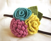 Coco - 3 colorful wool felt flowers headband