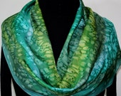 Summer Winds Hand Painted Silk Scarf - size 11x58 in Green