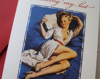 """Risqué Pin Up Girl - Christmas Card... """"Naughty or Nice"""""""