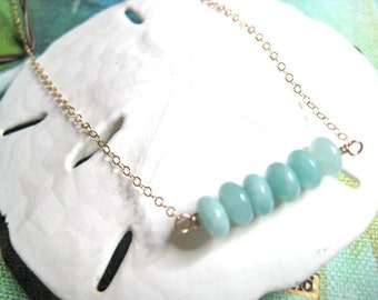 Aqua amazonite, gold necklace, 14K Gold filled, amazonite blue necklace, aqua
