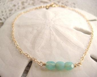 Aqua beaded bracelet, gold bracelet,  aqua B75.22