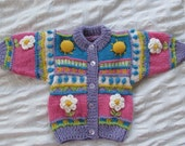 Sun & Daisy - Baby Girl Cardigan - Hand knitted - Wool
