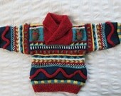 Shawl Collared Teddy Bear Sweater - Hand knitted - Wool