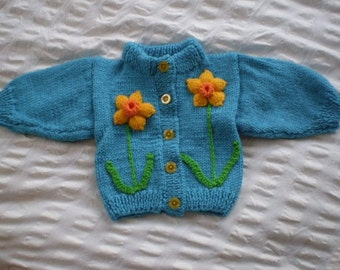 Turquoise cardigan with daffodils - hand knitted, wool