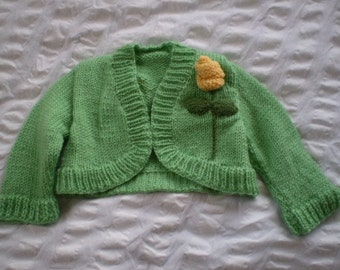 Mint green,shrug cardigan with yellow roses - hand knitted, wool