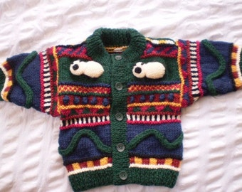 Country Sheep - Multi coloured cardigan - earth tones - hand knitted, wool