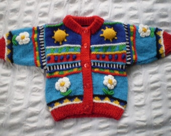 Sun & Daisy - Bright, multi coloured cardigan - hand knitted, wool