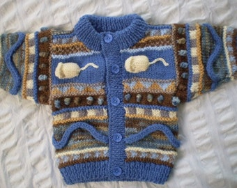 White Mice Baby Cardigan - Hand knitted - Wool