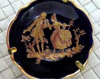 LIMOGES Miniature Cobalt Blue Plate with Gold Trim and Details, Romantic Courting Scene, Delicate and Beautiful