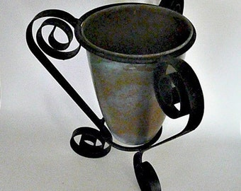 Beautiful Three-Legged Wrought Iron Stand with Rustic Brass Vase -- For Plants, Succulents, Flowers, Etc.