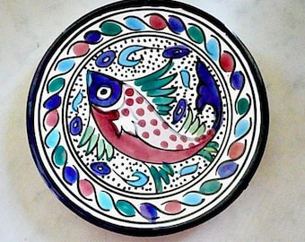 Colorful Fish Plate, Hand Made and Hand Painted