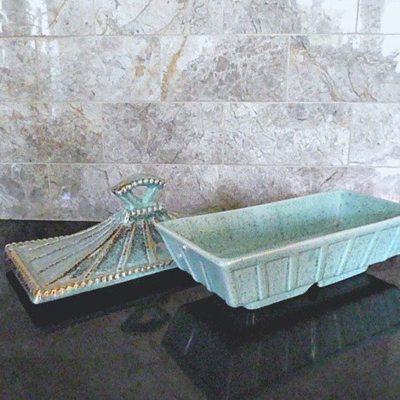 Aqua Covered Dish, Footed and Lovely, Mid Century