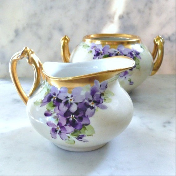 RESERVED for REBECCA - EXQUISITE Limoges Violets Creamer and Sugar, 1940s, Gorgeous Hand Painted Flowers with Luxurious Gold
