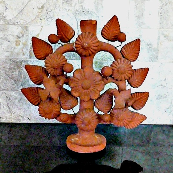 Handmade Mexican 'Tree of Life' Terra Cotta Candelabra with Flowers, Leaves, Balls and Birds, 1960s