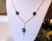 Larvikite and Pearl Necklace, Great Gift under 20