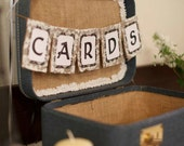 CARDS Burlap & Lace Wedding Banner, Rustic Chic Wedding Reception Sign Custom Colors Available