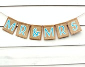 MR & MRS Banner in Kraft and Burlap, Head Table Sign, Wedding Photo Prop, Custom Colors Available