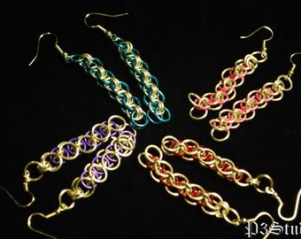 Parallel or Helm Chain Earrings - Custom - Your Choice of Color