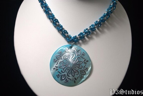 Blue and Silver Byzantine Necklace with Pendant