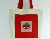Tomato Reversible Canvas Market Tote- Eco Friendly Red White and Green
