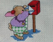 Christmas Valentine Bunny cross stitch completed