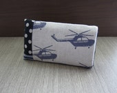 Black helicopter on polka dot linen iPhone 4 case