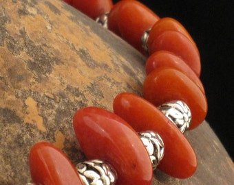 Hotter Than Miami Coral/Burnt Orange and Silver Necklace