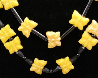 Sweet as Sugar Yellow Butterfly Double Strand Necklace