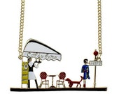 Coffee time in Paris lady waiter dog necklace gold tone chain pierced colorful