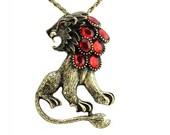 lion red cut gemstone retro brass chain necklace cool unique delicate