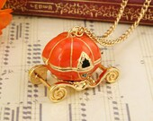 Cinderella Pumpkin Cart necklace gold tone trim ORANGE openable gift fairy tale gift for her