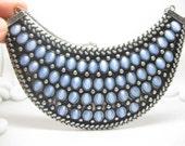 retro SILVER tone/HUGE 51 blue cat eye stone tone bead crescent moon shape SHORT necklace luxury